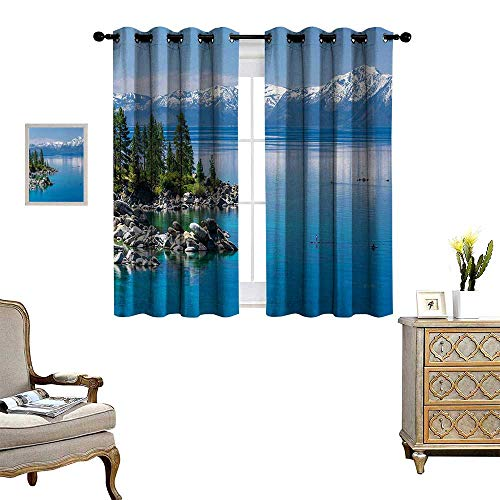 Anyangeight Landscape Patterned Drape for Glass Door Blue Waters of Lake Tahoe Snowy Mountains Pine Trees Rocks Relax Shore Waterproof Window Curtain W72 x L63 Light Blue Green ()