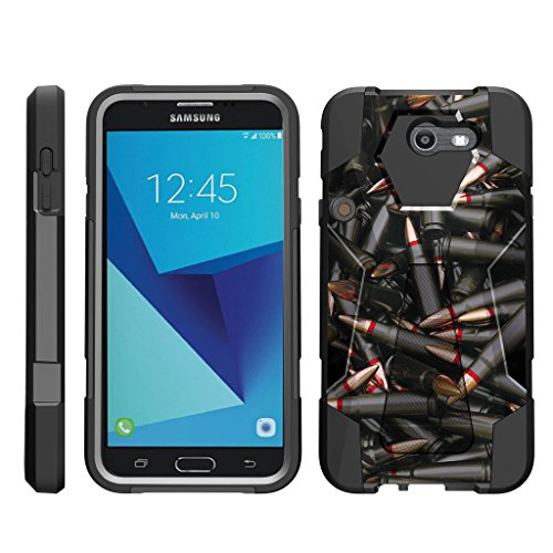 TurtleArmor | Samsung Galaxy J7 2017 Case | J7 V Case | J7 Prime | J7 Sky Pro [Dynamic Shell] Impact Hard Kickstand Hybrid Shock Silicone Cover Robot Military Army Design - Black Bullets