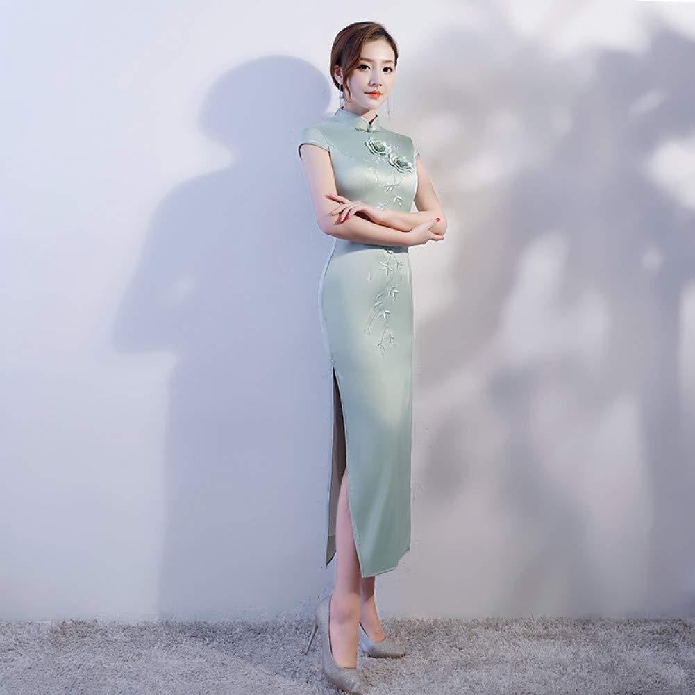 A8 XXL Qingxi Printemps Cheongsam brodé Longue Robe Cheongsam Paragraphe Paragraphe Slim Slim Sac Manches Hanche d'été