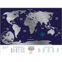 Deluxe Silver Scratch Off Places World Map - Travel Edition - 80 x 60 cm – Large Places I've Been Holiday Travel Map – Laminated Paper Map - A Novel Gift for Any Occasion
