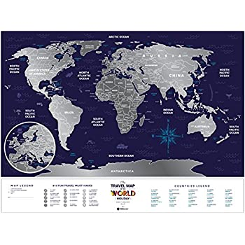 Amazoncom Detailed Scratch Off Places World Map Premium - Scratch off us state maps with pencil