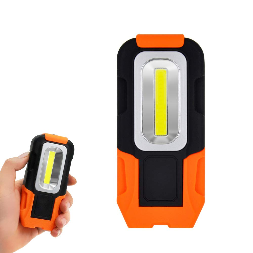 Battery Operated Magnetic COB LED Pocket Inspection Work Light Portable LED Torch Light with Hook, High Brightness 3W 200Lm, Battery Not Included, 3 Pack by Enuotek EN-K001-02