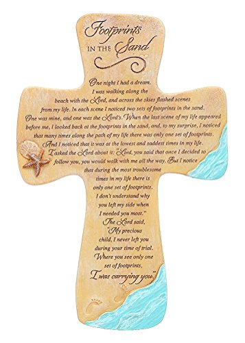 Abbey Press Footprints in the Sand Wall Cross - Inspirational Christian Gift Decor Home - 5546-ABBEY ()