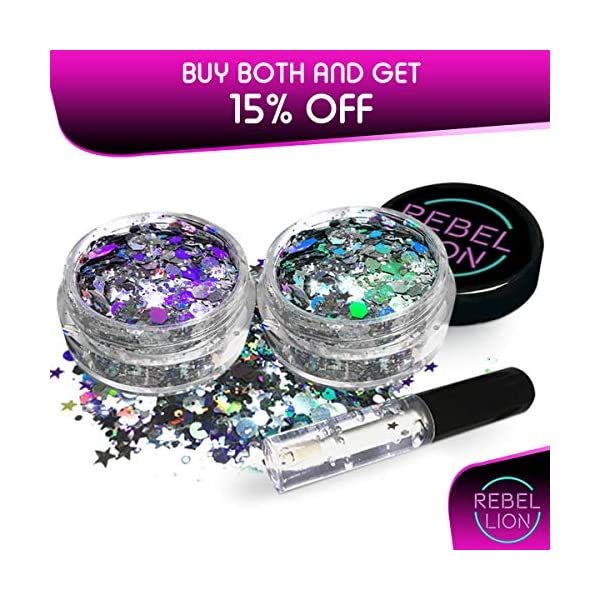 Cosmetic Glitter For Face, Body & Hair- Festival, Rave Silver with Fix Gel 10