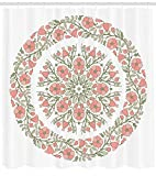 Dusty Pink Shower Curtain Lunarable Dusty Rose Shower Curtain, Mandala Inspired Floral Round with Curvy Branches and Blossoms, Fabric Bathroom Decor Set with Hooks, 70 inches, Light Pink Reseda Green