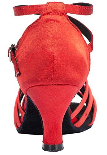 Abby Yfyc-l124 Mujeres Latin Tango Ballroom Mid Heel Zapatos De Baile De Satén Profesional Red
