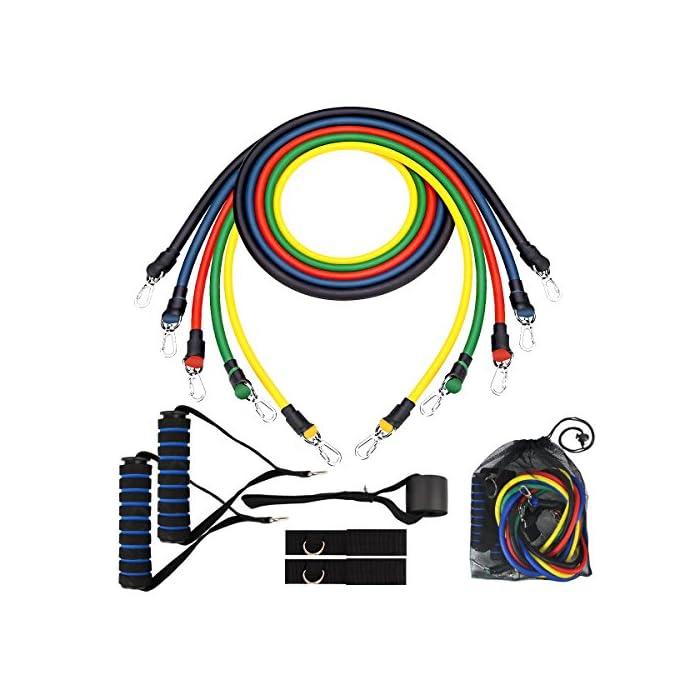 51hOm5vqM4L ★Múltiples opciones de resistencia: bandas de resistencia diseñadas con 5 bandas de resistencias de colores: amarillo (8 lbs), verde (15 lbs), rojo (20 lbs), azul (25 lbs), negro (30 lbs), permiten ajustar la resistencia hasta 100 lbs, proporcionando un plan personalizable para sus objetivos únicos ★Mangos de espuma suave para la seguridad :Este kit de bandas de ejercicios viene con dos mangos de espuma suave acolchada para mayor comodidad, protege tus manos de lesiones y absorbe el sudor para evitar resbalones durante el ejercicio ★Anillos de gancho y mosquetón de metal robusto: Son resistentes y no se deformarán ni se romperán incluso bajo una fuerte tensión. Los anillos del mosquetón son fáciles de separar de las bandas de resistencia y son fáciles de reemplazar Gomas elásticas fitness