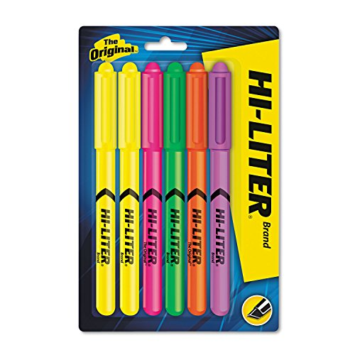 Avery Pen Style Highlighter - HI-LITER 23565 HI-LITER Pen-Style Highlighter, Chisel, Assorted Fluorescent Colors, 6/Set