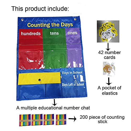 Children Educational Number Pocktet Chart with Magnet,Number Cards and Counting Sticks (Count Chart)
