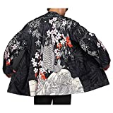 Men Japanese Yukata Coat Kimono Jacket Vintage Loose Top Warm Dragon Fish Retro