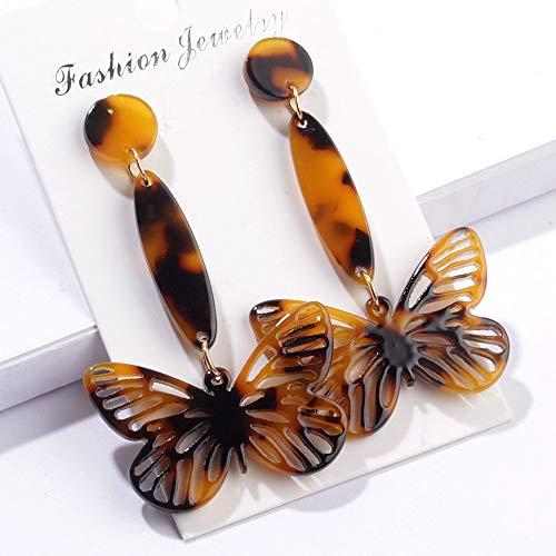 (Tortoise Earrings Fashion Butterfly Acrylic Resin Drop Dangle Earring Jewelry for Women Girls 1 Pair (Brown))