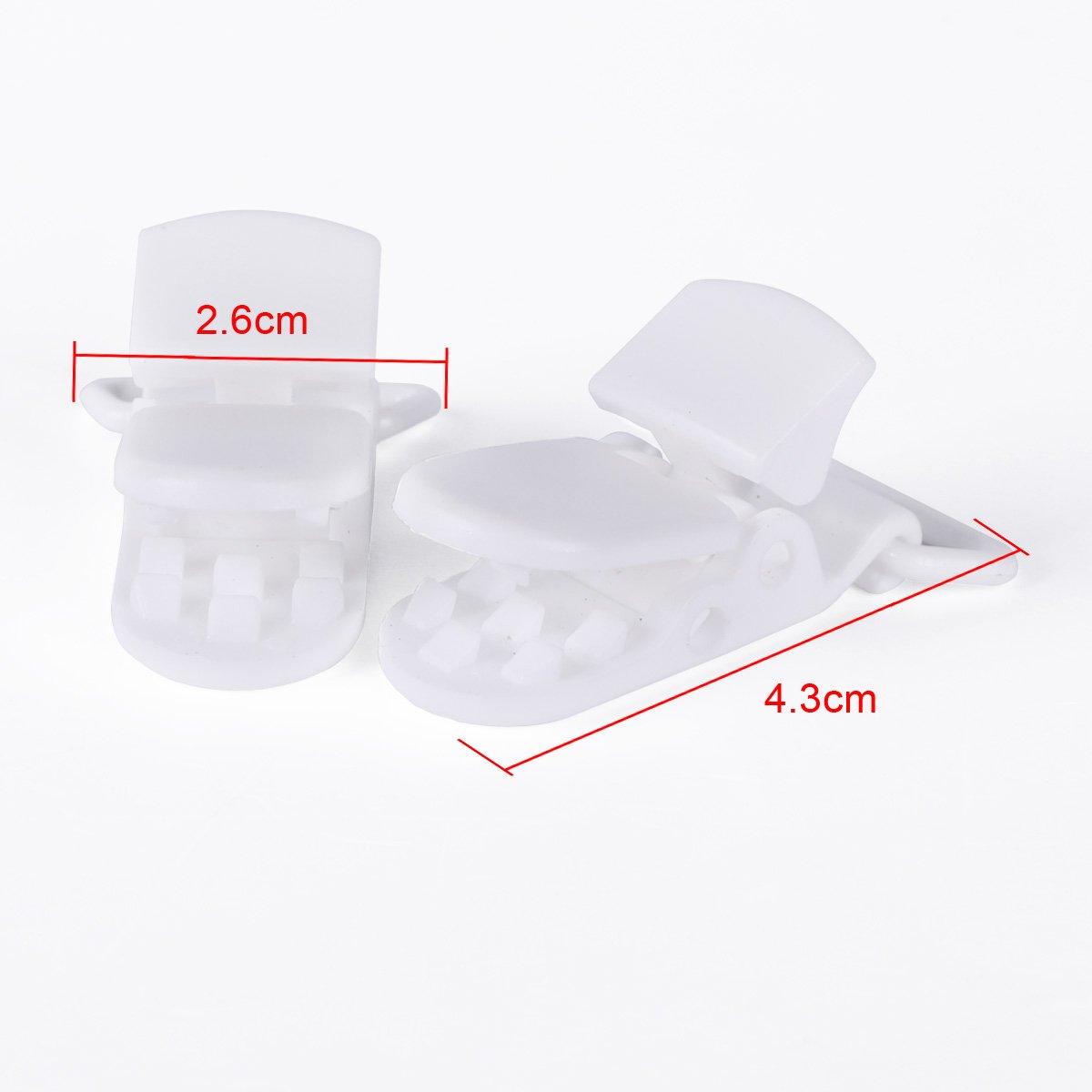 50pcs KAM Pince /à sucette bretelle attache clip plastique blanc