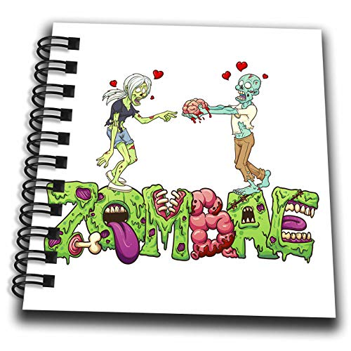 3dRose Carsten Reisinger - Illustrations - Funny Zombae Halloween Couple Zombie Woman Man - Mini Notepad 4 x 4 inch (db_294852_3)