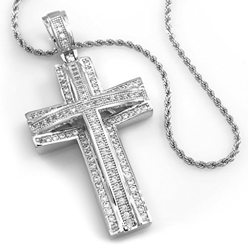 18K White Gold Plated CZ Stacked CROSS JESUS Pendant with (Cubic Zirconia Rope Cross)
