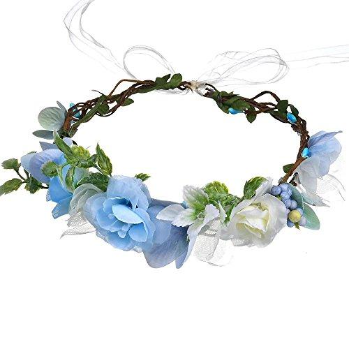 Flower Crown Floral Headband Headpiece Wreath Girls Womens Artificial White Blue Silk Roses Wedding Bridal Boho Kids Toddler (Prima Silk Flowers)