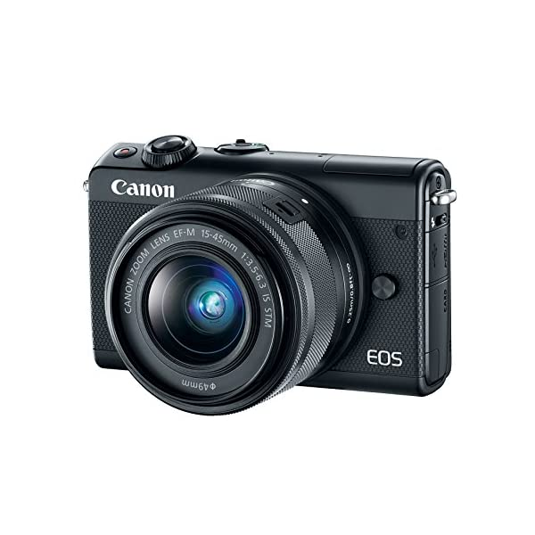 RetinaPix Canon EOS M100 Mirrorless Camera with 15-45 mm and 55-200 mm Lens, WiFi, Bluetooth, and NFC Enabled (Black)