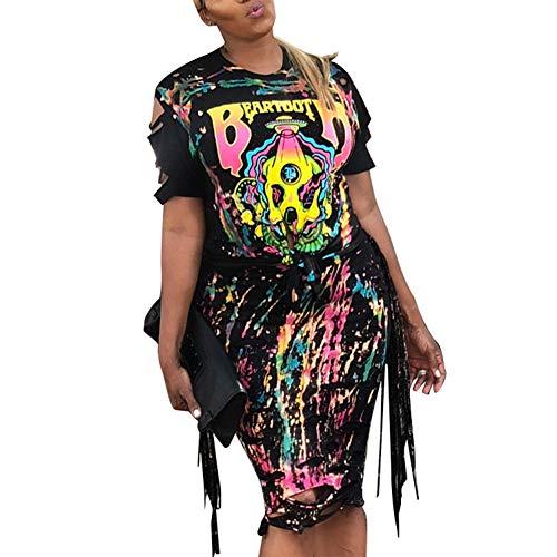 Womens Sexy 2 Piece Outfits - Graffiti T Shirt Maxi Skirt Set Summer Floral Midi Dress Black S