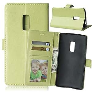 Two OnePlus-Carcasa, [] Syncwire Cable gratis TOMYOU Carcasa Case Funda/Estuche/funda de protección/Cover/PU Leather-Carcasa para OnePlus 1/2 Two () () verde