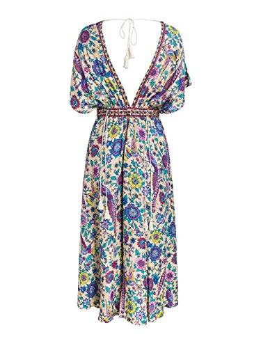 Berrygo Boho Femmes Col V Profond Dos Nu Fendit Imprimé Floral Robe Maxi Taille Haute Imprimé