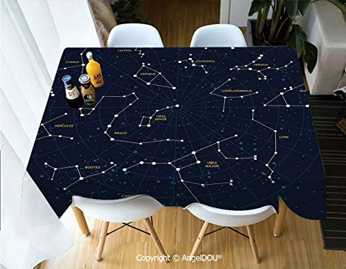 AngelDOU Fashion Durable Polyester Printed Tablecloth Sky Map Andromeda Lacerta Cygnus Lyra Hercules Draco Bootes Lynx for Kitchen Dining Room Outdoor Camping,W55xL82(inch)