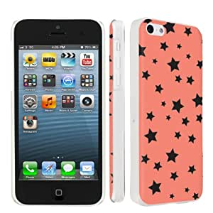 Apple iPhone 5c Ultra Slim Light Weight Clear Plastic Cover Case By SkinGuardz - Orange Stars