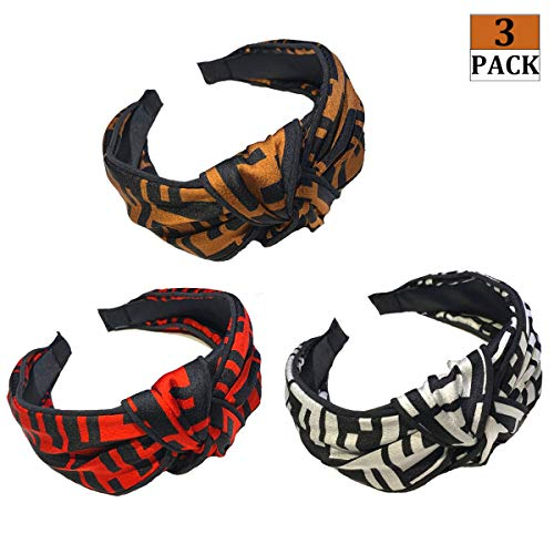 Designer Bow Knotted Letter Headbands for Women- Domoki 3 Pack Top Bow Stripped Cute FF Logo Print Hair Hoops - Cross Knot Wide Hard Hairbands for ()