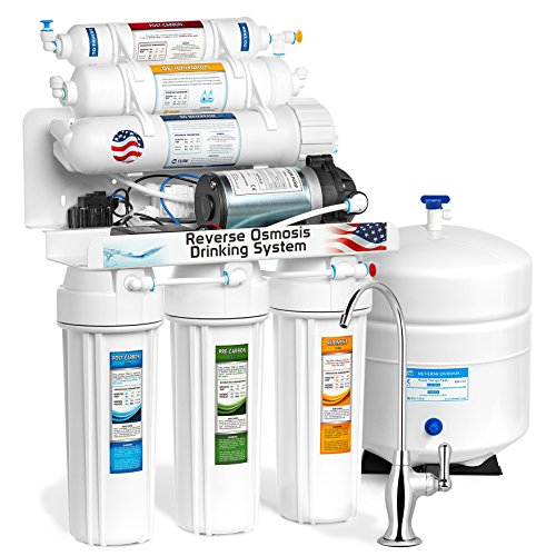 Express Water Deionization Reverse Osmosis Water Filtration System – 6 Stage RO DI Filter with Faucet and Tank – Distilled Pure – Under Sink Home Water Softener – with Pressure Booster Pump – 100 GPD