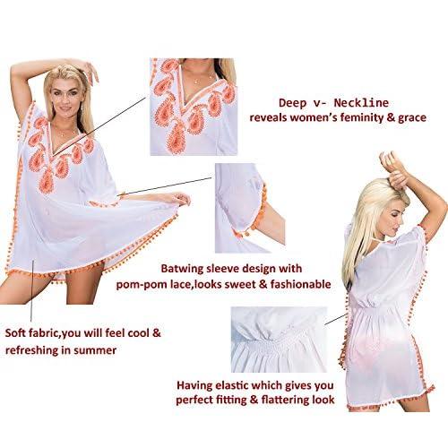 La Leela sequin profond col brodé paisley pom pom pure superbe lihgtweight mousseline maillots bain maillot bain 4 1 plage couvrir Tunique robe base cocktail kimono du parti