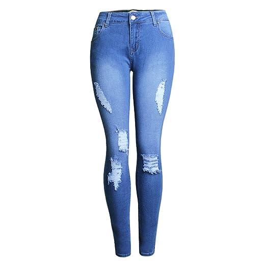 3d50bc1f81e5 Sunmoot Sexy Women Skinny Mom Jeans Hole Broken Slim High Waist ...