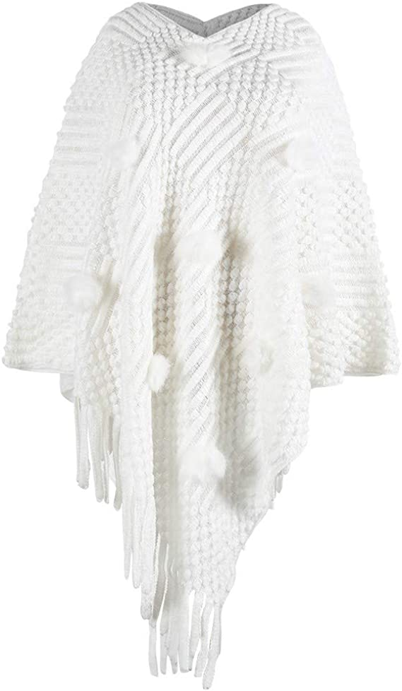 : KangCat Womens Poncho Sweater V Neck Knitted