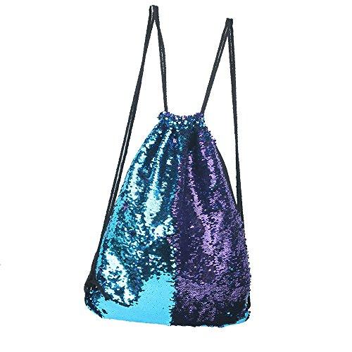 Reversible Sequins Bag Mermaid twinkling Fashion Backpack Drawstring Backpack Packsack Bling Shining Bag Shoulder Bag For Women girls kid Sport (Reversible Drawstring Bag)