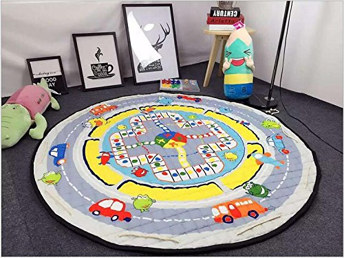 LuChuan Portable Cotton Play Mat With Toys And Toy Organizer thickness 0.4inch with 59inch round