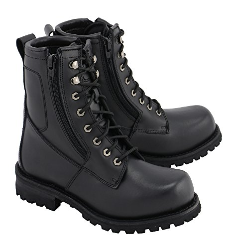 M Boss Apparel BOS49006 Mens 9 Inch Black Trooper Leather Motorcycle Boots - 12