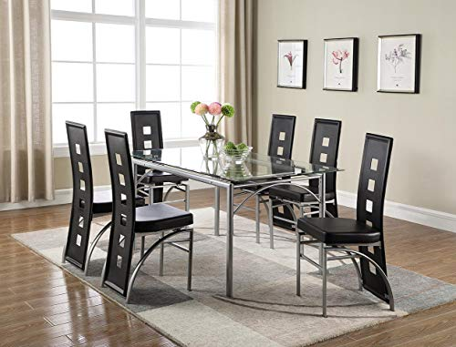 (Los Feliz Dinning Table with Glass Top Matte Silver and Clear)