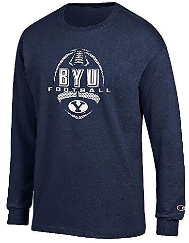BYU Cougars Navy Football Long Sleeve Tee Shirt by Champion - Cougars T-shirt Football Practice