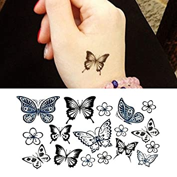 Amazoncom Oottati Small Cute Temporary Tattoo Hand Butterfly Set