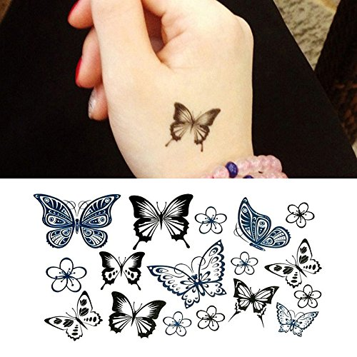 Oottati Small Cute Temporary Tattoo Hand Butterfly (Set of 2) -