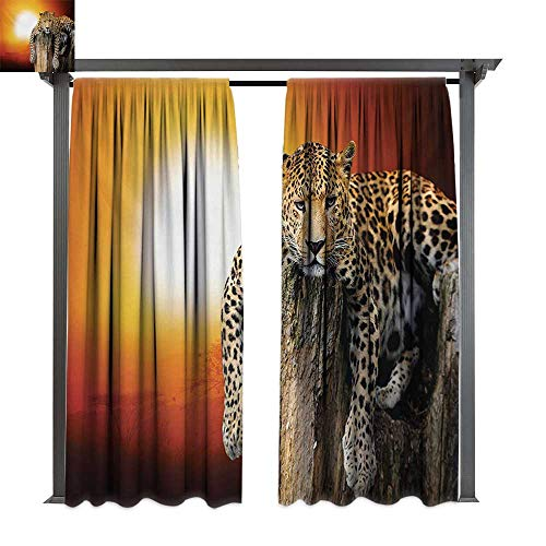 bybyhome Extra Long Outdoor Curtain Safari Leopard Sitting on Dry Tree at Sunset Danger in The Air Big Cat with Spotted Form W84 xL96 Suitable for Front Porch,pergola,Cabana,Covered Patio