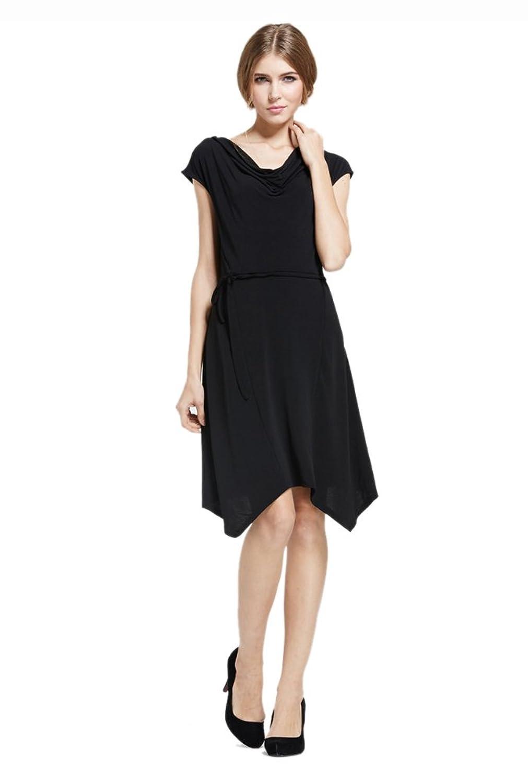 Purpura Erizo Womens Black Graceful OL Cap Sleeves Irregular Hem Dress