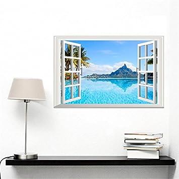 Weaeo 2018 Neues Jahr 3D Fenster Landschaft Wall Sticker Coconut Palm See  Home Wohnzimmer Wand