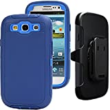 3 d phone cases galaxy s3 - S3 Clip Case,Galaxy S3 Case,Auker Defender Series Shockproof Water Impact Resistant Anti-slip Tough Rubber Rugged Holster Case with Belt Swivel Clip&Screen Protector for Samsung Galaxy S3 (Navy-D)