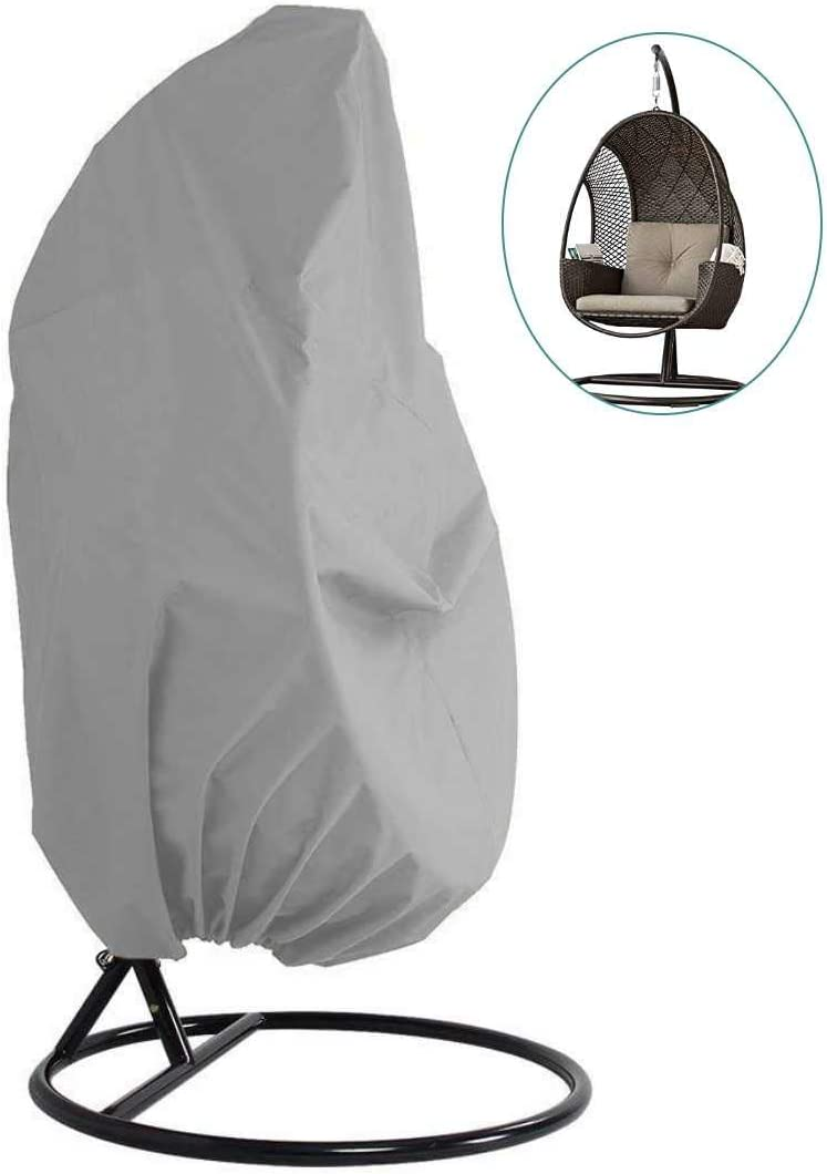 Skyfiree Patio Hanging Chair Cover Single Wicker Egg Swing Chair Cover Waterproof Garden Outdoor Pod Chair Swingasan Cover 75x45 Inches Black Chair Covers Patio Lawn Garden
