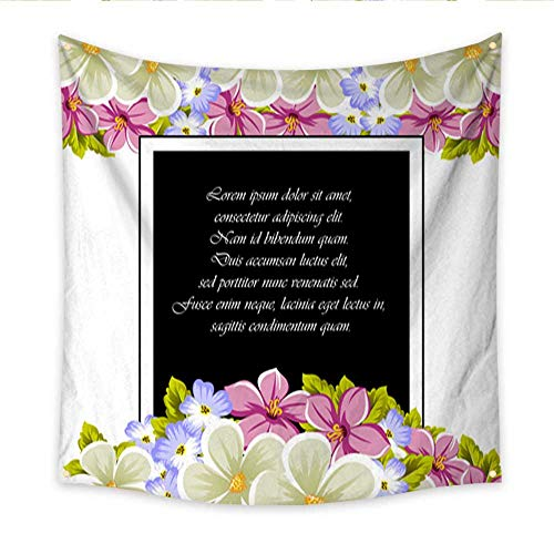 Anniutwo Beach Wall Tapestry Frame of a Few Flowers for Design of Cards Invitations Greeting for Birthday Wedding Party Holiday Celebration Valentine s Day Beach Throw Tapestry 70W x 70L Inch ()