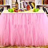Tulle Table Skirt Fabric Tutu Table Cloth for Rectangle or Round Tables / Fashion Deluxe Romantic Wedding Birthday Party Baby Shower Decorative tablecloth / Table Cover (Pink L:3ft H:2.6ft)