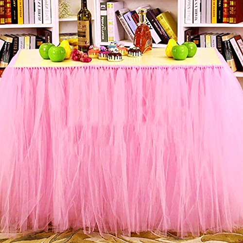 Tulle Table Skirt Fabric Tutu Table Cloth for Rectangle or Round Tables / Fashion Deluxe Romantic Wedding Birthday Party Baby Shower Decorative tablecloth / Table Cover (Pink L:3ft H:2.6ft) -