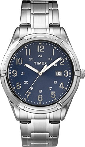 Timex-TW2P76400-Mens-Elevated-Classics-Silver-Tone-Blue-Dial-Date-Analog-Watch