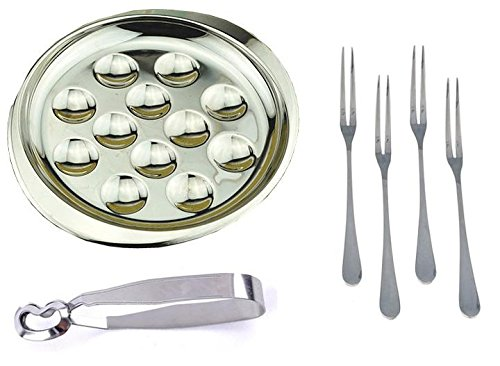 MBB Escargot Dining Set 12 Compartment Holes Snail Plate Tong 4 Forks Stainless ()