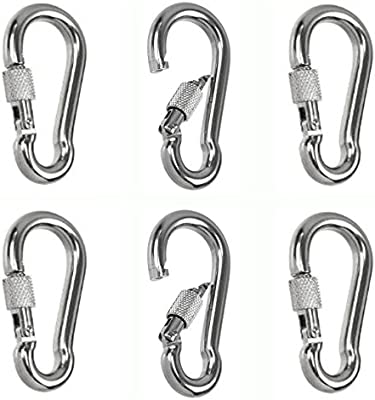 """1//4/"""" 316 Stainless Carbine Snap 2 3//8/"""" W// Eye Boat Hike Safety Climb Snap Hook"""