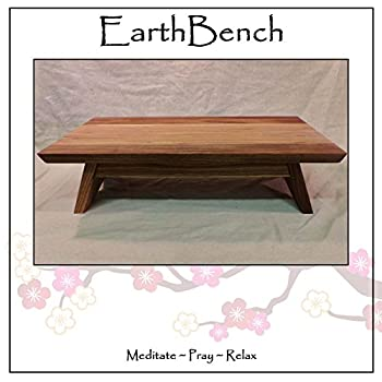 """EarthBench Shrine Table - Large-sized Petite Floor Altar (7"""" inches tall ~ 23.5"""" by 13.5"""") - Solid BUTTERNUT (""""White Walnut"""") Construction for Meditation, Prayer, or Contemplative Studies."""