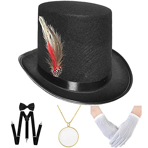 Monopoly Man Costumes (Unisex Black Felt Top Hats for Costume Party,Dress up Hats for Men Women,6